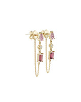White Diamond, Pink Amethyst, & Rhodolite 14K Yellow Gold Dangle Earrings with Chain