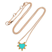 Carved Turquoise 14K Rose Gold Heart Necklace with Yellow Diamonds
