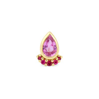 Red Ruby 14K Yellow Gold Pink Sapphire Teardrop Studs