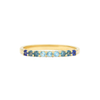 Blue Ombre 14K Yellow Gold Semi-Precious Stone Stacking Band