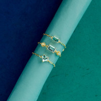 """Swiss Blue Topaz 18K Yellow Gold """"Perfect Fit"""" Baguette Adjustable Chain Ring"""