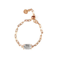 """White Topaz 18K Rose Gold """"Perfect Fit"""" Baguette Adjustable Chain Ring"""