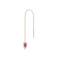 Pink Amethyst 14K Rose Gold Emerald-Cut Charm with Pink Diamond