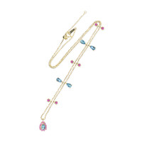 London Blue Topaz 18K Yellow Gold Pink Ruby Charm Necklace