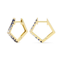 Blue Sapphire and White Diamond 14K Yellow Gold Paved Pentagon Hoops