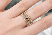 "White Diamond 14K Yellow Gold ""Vine"" Style Stackable Ring"