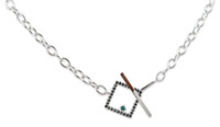 Black Diamond 14K White Gold Toggle Necklace Large Link Chain