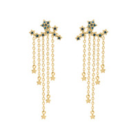 "Blue Diamond Star 14K Yellow Gold Climber Earrings with ""Raining Stars"" Dangle Backs"