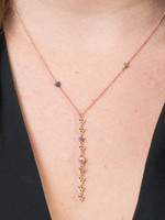 Multi-Colored Diamond 14K Rose Gold Intricate Triangle Shape Lariat Necklace with Lavender Pearls
