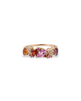 Fancy White Pave Diamonds 14K Rose Gold Multi-Color Pear Sapphire Ring