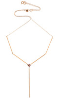 """Pink Diamond 14K Rose Gold Solid Bar """"Y"""" Moveable Necklace"""