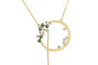 Blue and Champagne Brilliant Rose Cut Diamonds Yellow Gold Circle Necklace