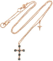 Blue Rose-Cut Brilliant Diamond 14K Rose Gold Cross Necklace with Small Cross Charm