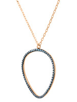 "Pave Blue Diamond 14K Gold ""Wave"" Circle Necklace"