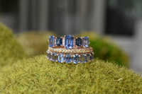 White Diamond 14K Gold Light and Dark Blue Emerald-Cut Sapphire Ring