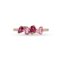 White Diamonds 14K Rose Gold Light and Dark Pear Shape Pink Sapphire Ring
