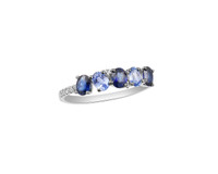 Light and Dark Oval Blue Sapphire and White Diamond 14K Gold Ring