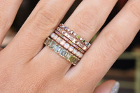 Multi-Colored Rainbow Diamond 14K Rose Gold Skinny Stacking Band