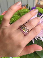 White Diamonds 14K Rose Gold Eternity Multi-Colored Tourmaline Ring