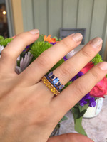 Yellow Fancy Baguette Sapphire 14K Gold Eternity Ring