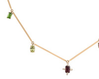 Chrome Diopside, Garnet, & Zircon 14K Gold GemCharm Necklace with White Diamonds