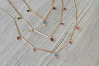 Garnet, Zircon, & Opal 14K Gold GemCharm Necklace with Pink Diamonds