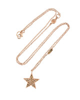 Champagne Diamond 14K Rose Gold Star Necklace