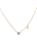 Rose-Cut Gray Diamond 14K Rose Gold Star Necklace with Side Star Dangle