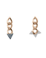 Mis-Matched Blue and White Diamond 14K Gold Chain Link Earrings