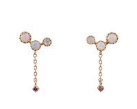 Multi Pink Diamonds 14K Rose Gold Dangle White Opal Cluster Post Earrings