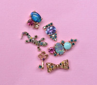Turquoise Diamonds 14K Rose Gold & Semi-Precious Stone Mini Ear Climbers, Right Ear