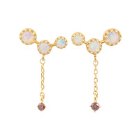 Pink Diamond 14K Dangle Opal Cluster Earrings