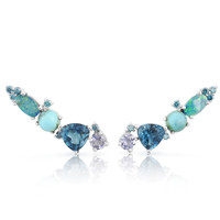 Blue Diamond 14K White Gold Opal & Tanzanite Diamond Ear Climbers