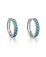 Turquoise 14K White Gold Hoop Earrings