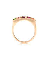 Multi-Colored Diamonds 14K Yellow Gold Semi-Precious Stone Chunky Band
