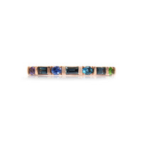 Blue Sapphire 14K Rose Gold Multi Shaped Semi-Precious Stone Ring