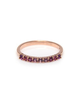 Pink Sapphire Diamond 14K Rose Gold Semi-Precious Stone Stacking Band