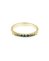 Cool Ombre Color Diamond 14K Yellow Gold Semi-Precious Stone Stacking Band