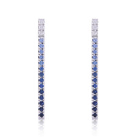 14K White Diamonds & Blue Sapphire Straight Bar Dangle Earrings