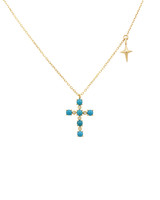 Turquoise Rose-Cut Brilliant Diamond 14K Yellow Gold Cross Necklace with Small Cross Charm