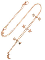 Celestial Blue and Grey Diamonds 14K Rose Gold Charm Necklace