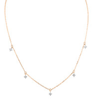 Northern Star White Diamond 14K Rose Gold Charm Necklace