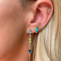 Diamond 14K Yellow Gold & Semi-Precious Stone Mini Cluster Climber (Single, Left Ear)