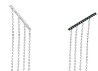 Blue & White Diamond 14K White Gold Bar Post Earrings with Tassel Dangle Backs