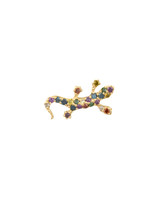 Rainbow Diamond 14K Yellow Gold Salamander Stud