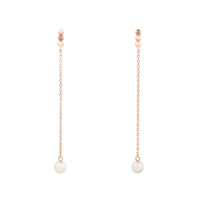 Champagne Diamond 14K Rose Gold Post with Dangling Pearl Earrings