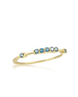 Raised Blue Diamond 14K Yellow Gold Stacking Band