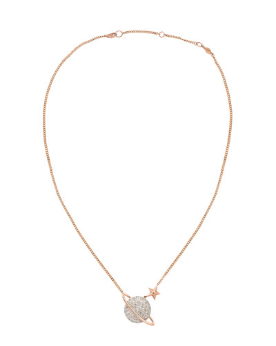 Gray Diamond 14K Rose Gold Large Saturn Necklace