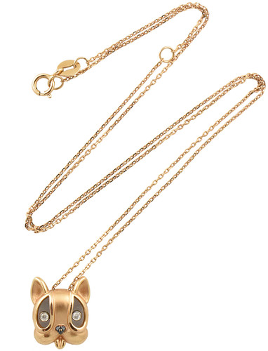 White & Black Bouncing Diamond 14K Rose Gold Milo the Dog Necklace