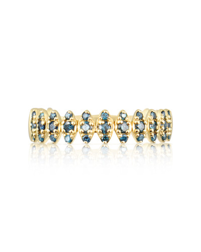 "Blue Diamond 14K Yellow Gold ""Zig-Zag"" Ring"